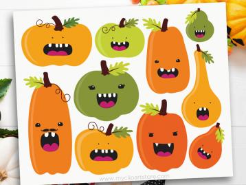 Funny Pumpkins Vector Clipart