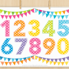 Numbers Rainbow Clipart, birthday, polka dot, pennants