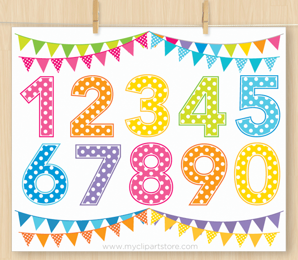 Numbers Rainbow Clipart, birthday, polka dot, pennants