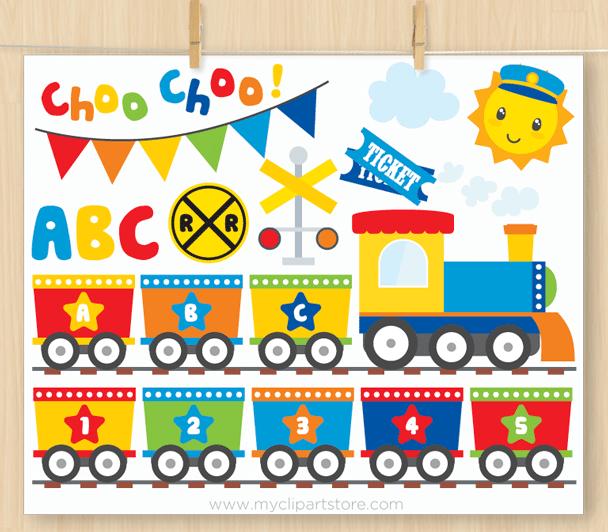 Primary ABC Train Vector Clipart