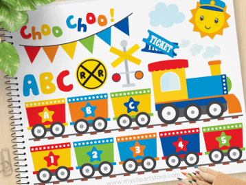 Primary ABC Train Vector Clipart