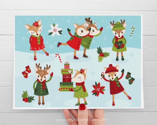 Reindeer Ice Skating Vector Clipart