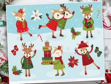 Reindeer Ice Skating Vector Clipart
