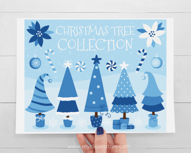 Christmas Trees Blue Clipart