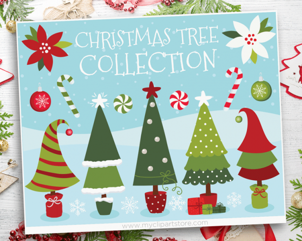 Christmas Trees Red Clipart