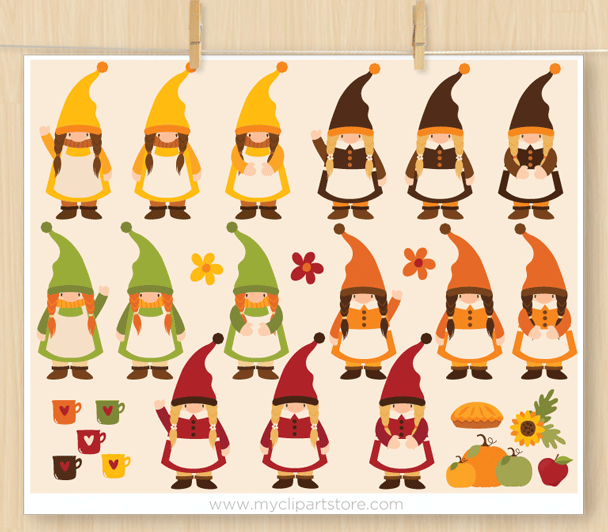 Fall Gnomes Clipart