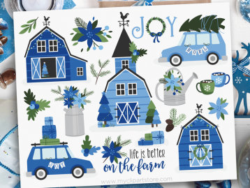 Blue Christmas Farmhouse Clipart