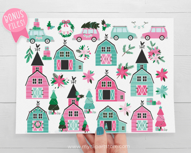 Christmas Farmhouse Pink Clipart