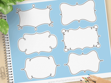 Curly Frames Vector Clipart