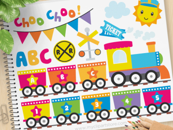 Rainbow ABC Train Vector Clipart
