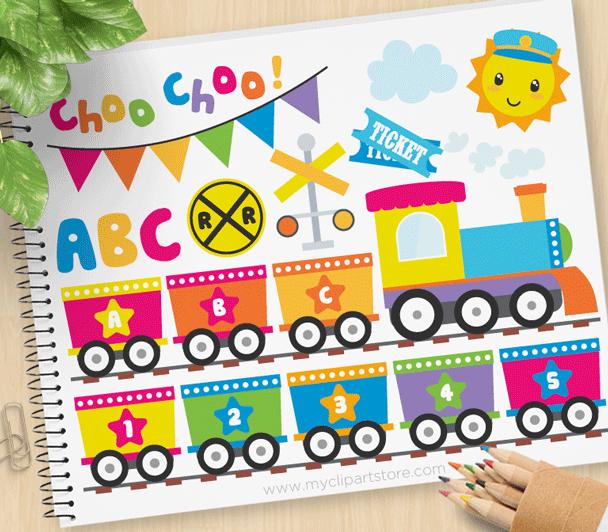 Rainbow ABC Train Vector Clipart