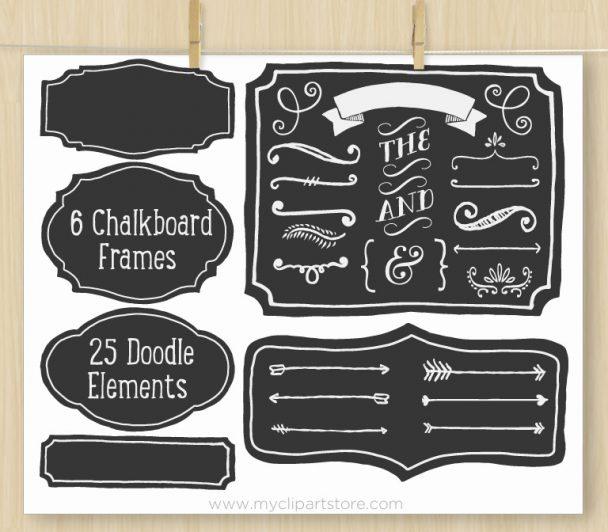 Chalkboard Frames Vector Clipart