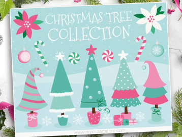 Christmas Trees Pink Clipart
