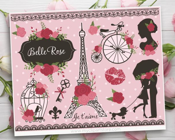 Belle Rose Paris Vector Clipart