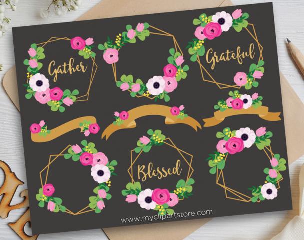 Floral Frames Gold Vector Clip Art