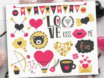 Valentine Nordic Bear Clipart