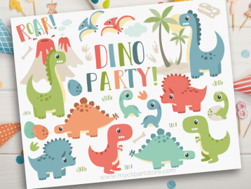 Dino Party Vector Clipar