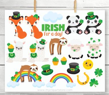 St Patricks Day Animals Vector Clip Art