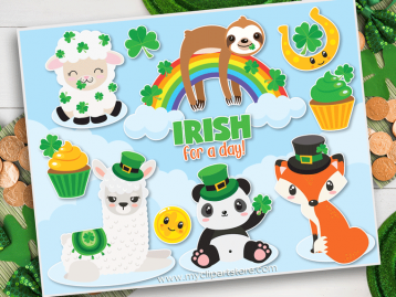 St Patricks Day Animals Vector Clip Art