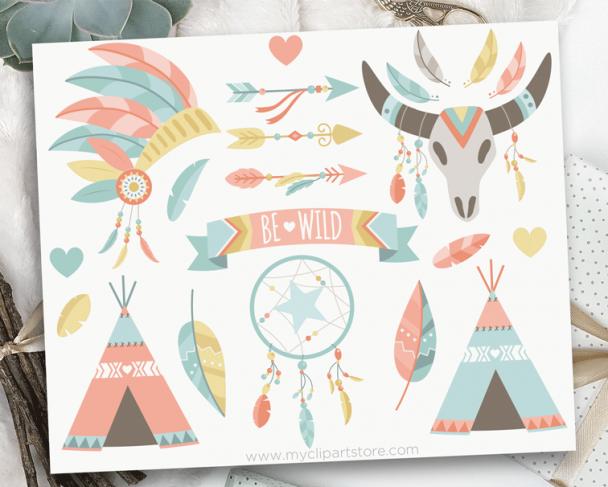 Tribal Boho Elements Clipart