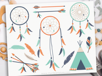 Tribal Boy Dreamcatchers Clipart