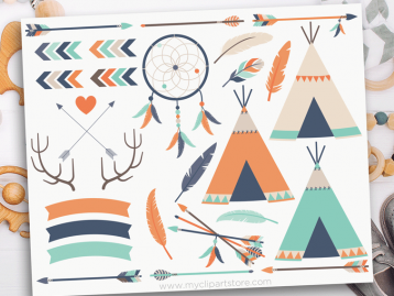 Tribal Boy Elements Vector Clipart