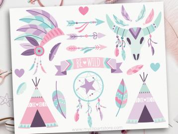 Tribal Girl Boho Elements Clipart