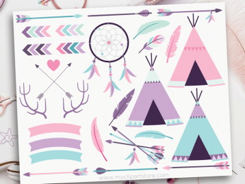 Bohemian Tribal Girl Elements Clipart