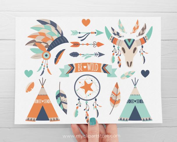 Tribal Boy Boho Elements Clipart