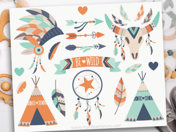 Tribal Boy Boho Elements Clipart