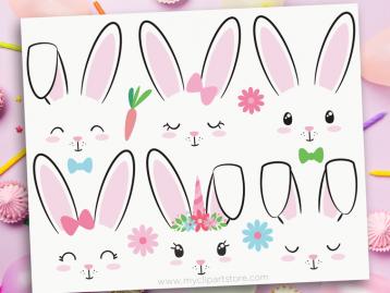 bunny faces clipart