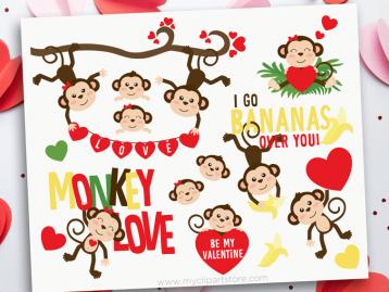 Valentine Monkeys Clipart
