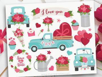 Valentine Truck Clipart