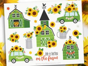 Sunflower Farm Green Clipart